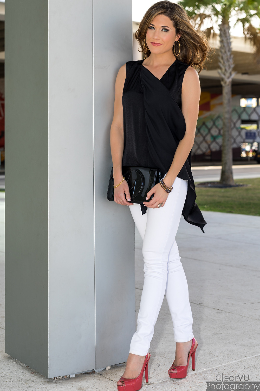 Livs Lookbook, white denim, black and white