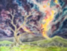 jacaranda tree, watercolor paintig, jacaranda tree painting, galaxy watecolor, jacaranda tree painting at night