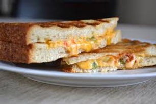 Closeup of Grilled Cheese & Pimiento Sandwich.