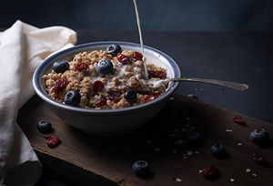 Bowl of oats with blueberries.