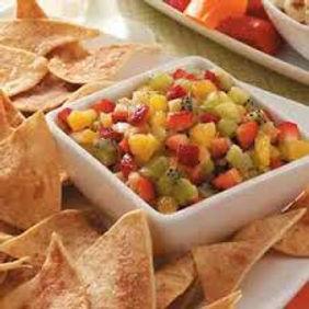 Closeup of Fruit Salsa & Chips.