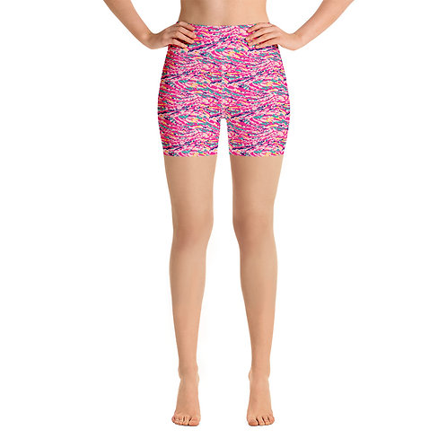 Yoga Legging Shorts with a Colorful Pink Abstract Paint Pattern