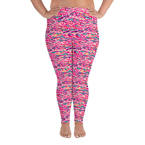 Plus Size Yoga Leggings with a Colorful Pink Abstract Paint Pattern