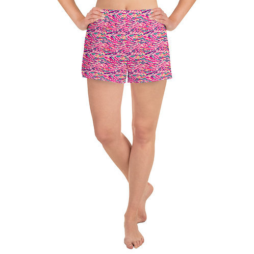 Women's Athletic Shorts with a Colorful Pink Abstract Paint Pattern