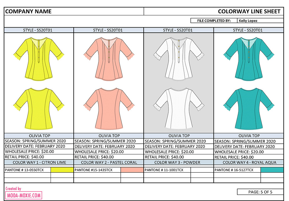 fashion design line sheet