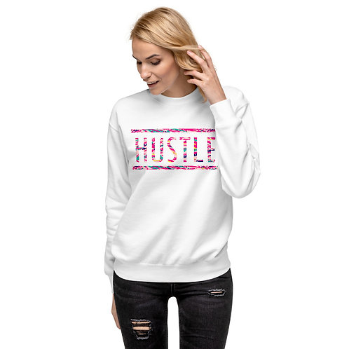 Fleece Pullover Sweater with a Colorful Pink HUSTLE Typography