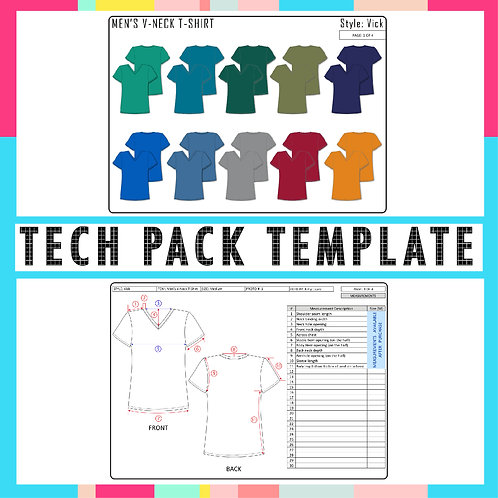 Men T-Shirt tech pack template with CAD