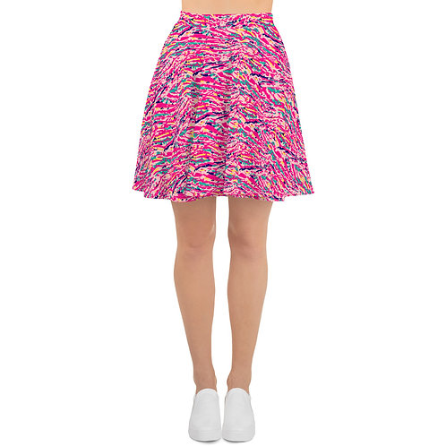 Flared Skirt with a Colorful Pink Abstract Paint Pattern