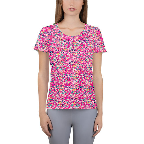 Gym T-shirt with a Colorful Pink Abstract Paint Pattern