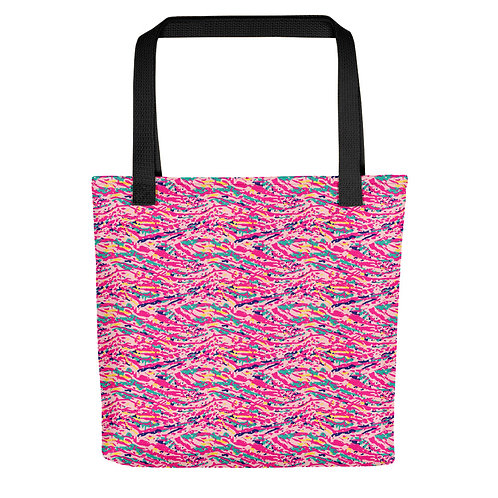 Tote bag with a Colorful Pink Abstract Paint Pattern