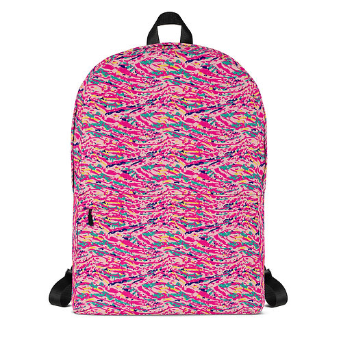 Trendy Backpack with a Colorful Pink Abstract Paint Pattern