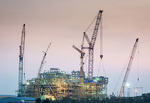 Construction oil refinery at twilight ,
