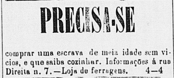 """Anúncio de jornal - """"compra"""" de mulher"""