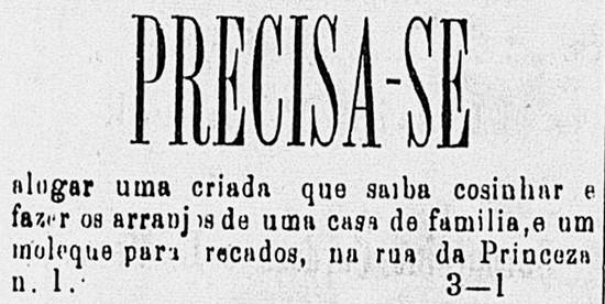 """Anúncio de jornal - """"aluguel"""" de mulher e criança"""