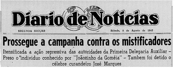 """Jornal """"Diário de Notícias"""" - Joãozinho da Goméia"""