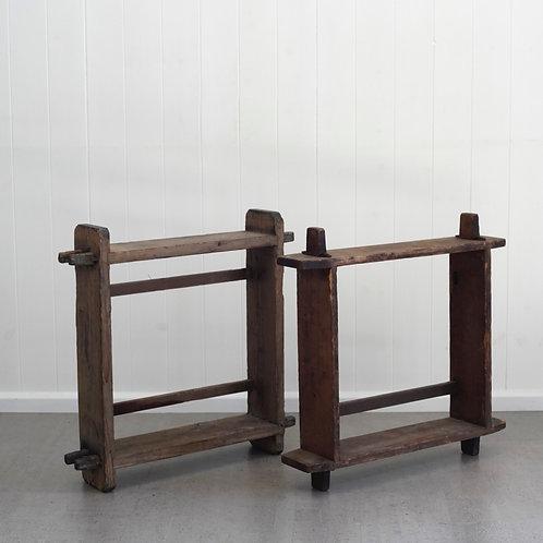 Pair of Japanese Wooden Shelves