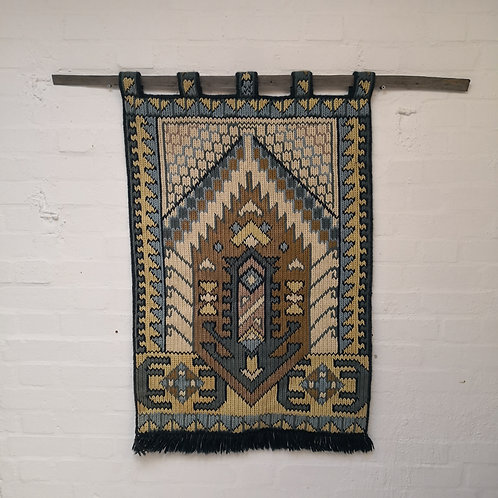 MID CENTURY VINTAGE WALL HANGING RUG TEXTILE MODERNIST AZTEC TRIBAL NORTH AFRICAN WOOL