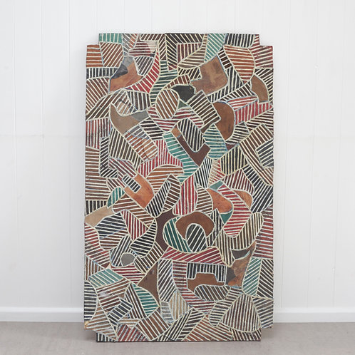 African Painted Leather Screen