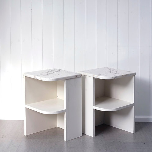 Pair of Marble Bedside Tables