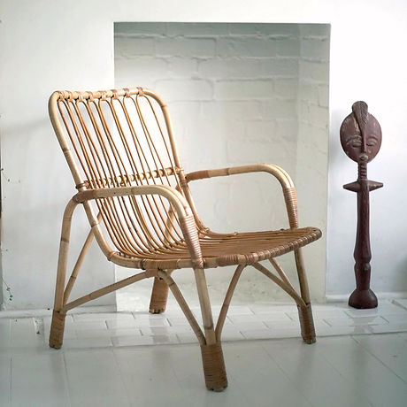 PUSH // PULL STORE VINTAGE & CONTEMPORARY DESIGN MID CENTURY CANE RATTAN WICKER CHAIR MODERNIST FURNITURE
