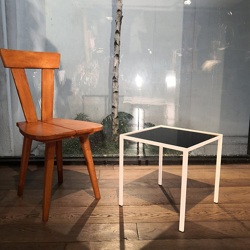 VINTAGE POSTMODERN GLASS & METAL SIDE TABLE MID CENTURY MODERNIST WHITE  PAINTED