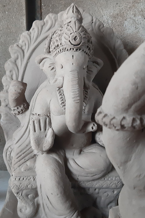 Ganesha Idol made of pure soil Height:- 0.75 feet (9-10 inches)