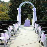 Lavender ceremony deor on chairs and archwa