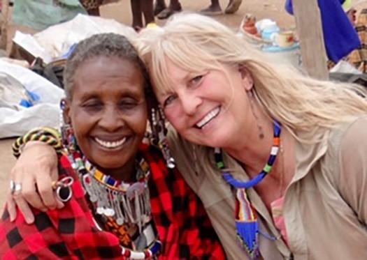 Marcia and woman at Maasai Market. Bob Pool