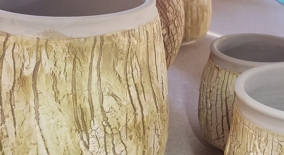 Bark texture with glaze wash.