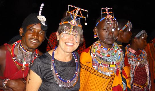 2.Cathy with Maasai dancers. Marcia Moore