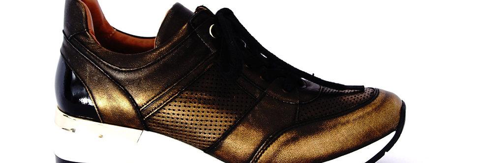 FABIO FABRIZI 860                             Sneakers Czarny+Złoto  przecierane