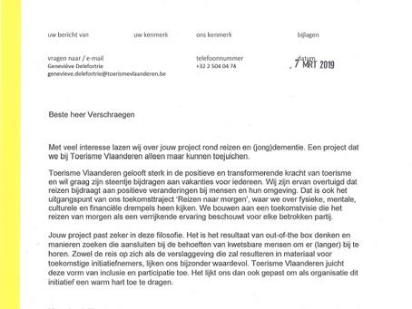 Toerisme Vlaanderen juicht initiatief toe