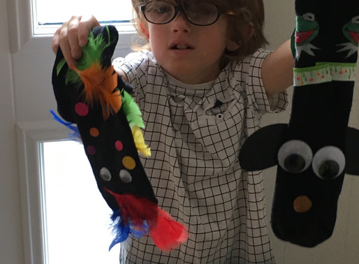 This pupil in Flamingos has been working hard at home. He has made a lovely sock puppet and a flower
