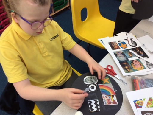 Year 5 creating a collage of symbols for their Peter Blake inspired artwork.