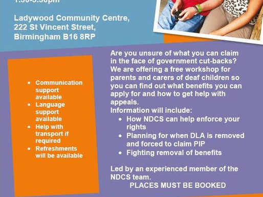 FREE information session on what benefits families of deaf children are entitled to.