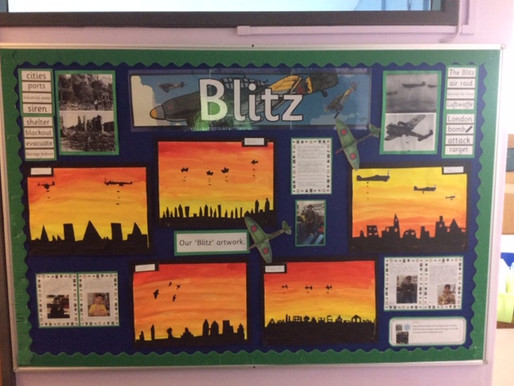 Sunflower Class (Y5) are learning about World War Two and made some stunning Blitz artwork.