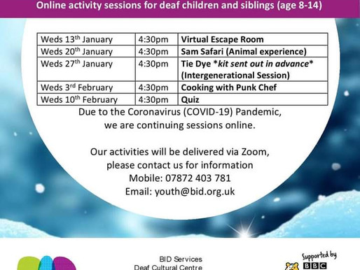 BID Youth Club dates
