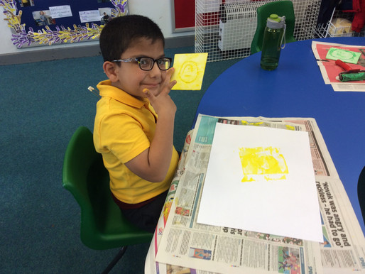 Year 1 (Dolphins) have been printing their own self-portraits.