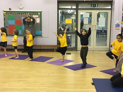 Key Stage 1 are lucky enough to have a Yoga Bugs session as part of their PE provision every Thursda