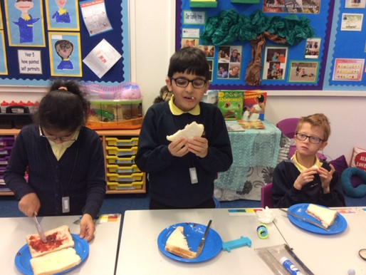 Tulip Class (Y5) have been making jam sandwiches to enable them to write their own instructional tex