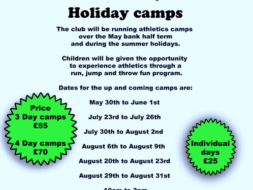 Birchfield Harriers Holiday Camps 2018