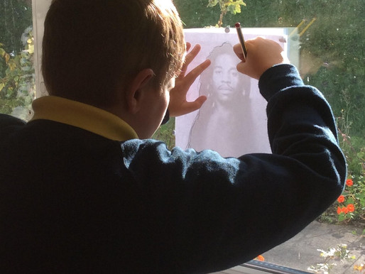 Year 5 Sunflowers have been getting creative and drawing portraits of Benjamin Zephaniah.