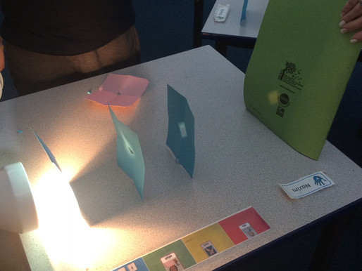 Sunflower Class (Y5) conducted a science experiment using a torch and some card, to prove that light