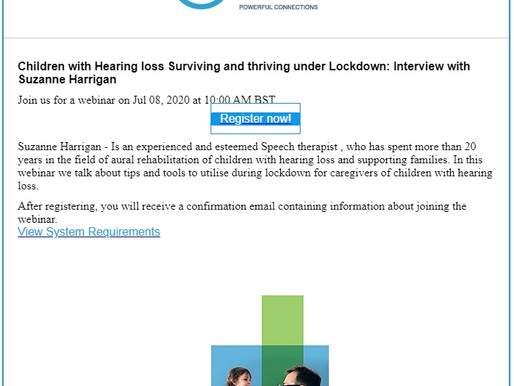 Children with Hearing Loss-Surviving and Thriving under Lockdown webinar