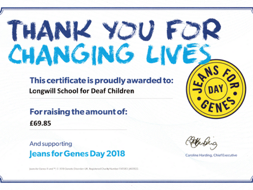 Congratulations to pupils for raising so much money for Jeans for Genes Day!