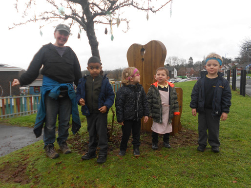 Pear Class (Foundation) really enjoyed making bird feeders in gardening this week.