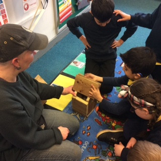 Pupils have been busy making a bird house.