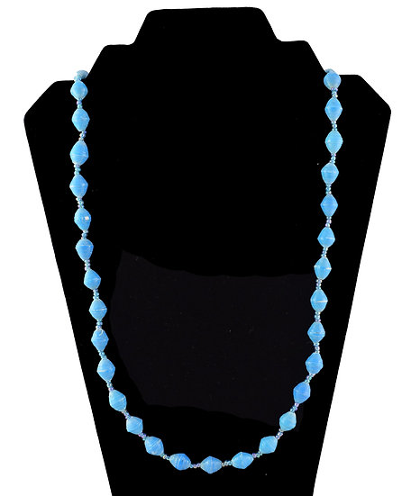 Medium Length Paper Bead Necklace - Bright Blue