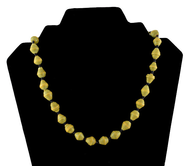 Short Paper Bead Necklace - Olive Green