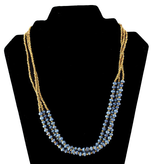 Multi-strand Paper Bead Necklace - Blue